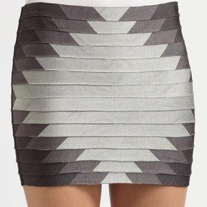 Haute Hippie gray aztec bandage skirt